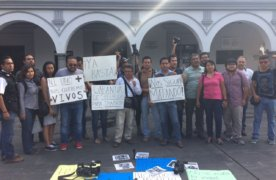 Periodistas protestan por asesinato de Ricardo Monlui, en Veracruz