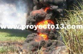 Encharcamientos de gasolina causa incendio de altas dimensiones en Rancho Victoria; municipio de Omealca